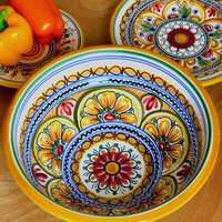 Large Serving Bowl | Handmade and Hand painted in Spain