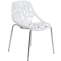 Forest White Plastic Modern Dining Chair