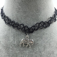 Tattoo Choker with Silver Elephant