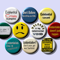 """EXISTENTIAL Existentialism Psychology Philosophy 10 Pinback 1"""" Buttons Badges Pins"""