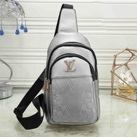 LV Louis Vuitton Fashion Men Leather Simple Backpack Bookbag Daypack Satchel Silvery