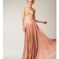 Fall 2014 Mignon Rose & Gold V-Neck Textured Belted Evening Gown