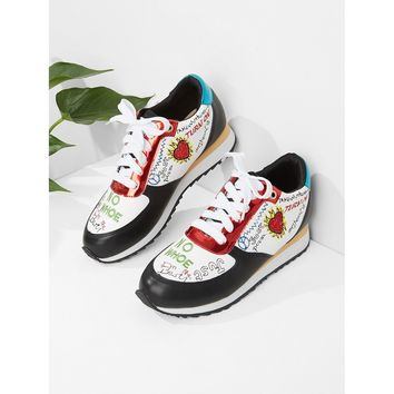 Graffiti Pattern Splice Sneakers