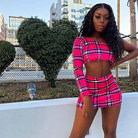 Plaid Print Sexy Two Piece Set One Shoulder Long Sleeve Crop Top Skirt Matching Sets Club Outfits Spring