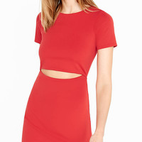Red Short Sleeve Slitted Waist Mini Dress from EXPRESS