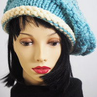Chunky Knit Slouchy Beret / Dreadlocks Hat / Light Blue and White / Hand Knit / Hand Crochet / Teen Girl Hat  One of A Kind /Fall Fashion