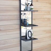 Tall Vertical Wall Mirror With Metal Shelves