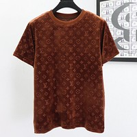 Louis Vuitton LV solid color suede round neck short-sleeved T-shirt