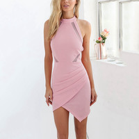 ♡ Sexy Pink Halter Neck Off Shoulder Bodycon Dress ♡