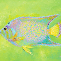 Fish painting, tropical fish art, canvas art, aquarium fish, beach house decor, coastal decor, bathroom art, ocean painting, Tropical Art