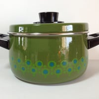 Fun Funky Kitchen Green Blue Enamelware Stock Pot polka dot peacock abstract decoration