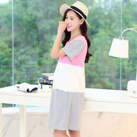 Nursing Clothes Pregnant for Women Maternity Patchwork Breastfeeding lactating Cotton Dress