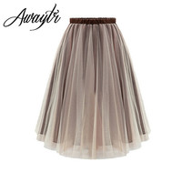 2017 New Summer Elegant Organza TuTu Skirt Fashion Wild Elastic Waist Pleated Skirts Women Plus Size S- XL