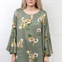 Floral Sheen Keyhole Blouse {Sage Mix} EXTENDED SIZES