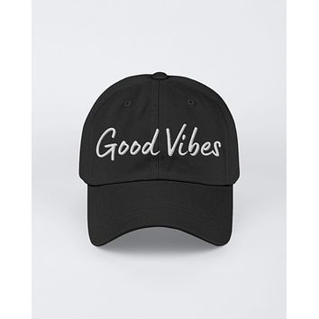 Good Vibes White Graphic Text Style Yupoong Adult 6 Panel Structured Flat Visor Snapback