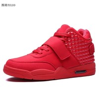 Sport Sneakers Boots Red White Men Sport Trainers High Top  Basketball Shoes