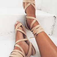 Daska Tie Flats - Sand - Shoes by Sabo Skirt