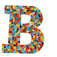 Multicolored Letter B Mosaic Initial Art