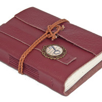 Burgundy Leather Journal with Cameo Bookmark - Ready to Ship