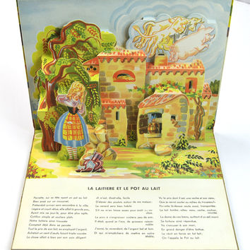 RARE Vintage Book, Fables, French Language Pop-Up Book, Illustrated, Lucos Mulhouse 1950s