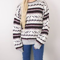 Vintage Gray Marled Aztec Knit Sweater