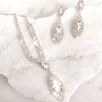 Elsa Crystal Necklace and Earrings Set