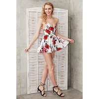 Boho Floral Print Backless Sexy Romper
