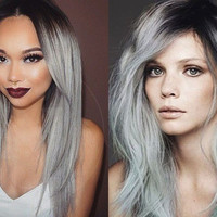Ombre Light Gray Ombre Style Wigs