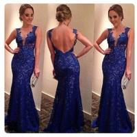Dark Blue Lace Prom Dresses Blackless Lace Prom Dress Lace Evening Dresses