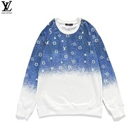 Louis Vuitton autumn and winter new round neck sweater, ink-splattered gradient long-sleeved jacket