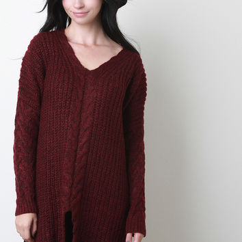 V-Neck Cable Knit Sleeves Long Sweater