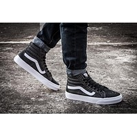 Vans/ Retro washed denim high casual shoes