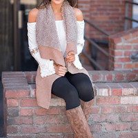 Show Me Cozy Sherpa Lined Vest (Cocoa)