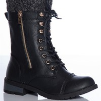 Forever Warming Trend Mango-31 Sweater Cuff Lace Up Combat Boots - Black