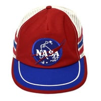 Vintage 80s NASA Trucker Red White and Blue Snapback Cap One Size Fits All Hat
