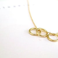 14k Solid Gold Eternity Necklace. Dainty Mini Circle Necklace. Delicate Skinny Gold Necklace. Dainty Circles. Sister Birthday 14k Solid Gold