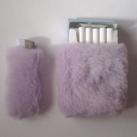 Cute Set of Cigarette Case and Bic Lighter Case by Kerenika