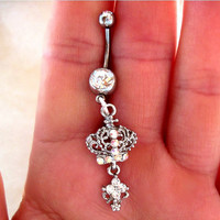 One Belly Button Ring Barbell Clear Crystal Silver Tone Crown ONLY 1 MORE AVAILABLE