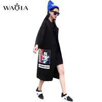 2016 New Spring Fashion/Casual Women's Trench Coat Long Outerwear Cartoon Loose Clothes Single Breasted Vestidos Plus Size