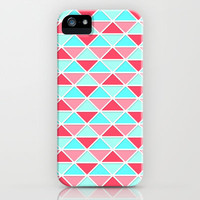 Triangles-Coral/Mint iPhone Case by Dale Keys