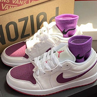 NIKE AIR JORDAN 1 classic color matching low-cut couple sneakers sports shoes White&Purple