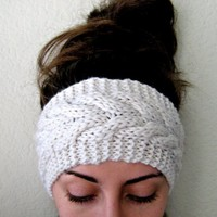 Cable Knit Ear Warmer in Mint. A Handmade, Thick Headband in a Neutral Cream Color