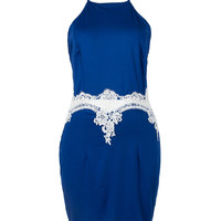 Blue Halter Crochet Lace Detail Strappy Bodycon Mini Dress