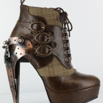 Hades Oxford Steampunk Boot Brown - Shoes