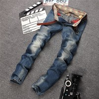 Strong Character Ripped Holes Slim Denim Pants Jeans [6541850627]