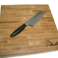 """Personalized Cutting Board - End Grain Maple 14""""x14""""x2"""" with Feet"""