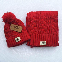UGG winter men's and women's knitted hat and scarf two-piece suit