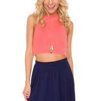 Bettie Knit Crop Top in Coral