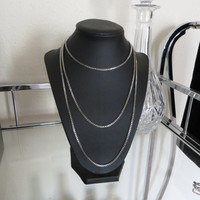 5 Way Silver Long Layering Box Snake Chain necklace - Knot Layered Layering Jewelry - Tiered T shirt faux body choker necklaces trendy