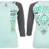 Licensed Official AMERICAN FIGHTER Womens T-Shirt LANDER GALAXY Athletic MINT GREY Biker UFC $40